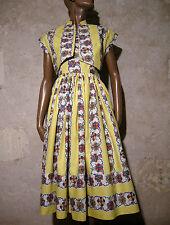 CHIC VINTAGE ROBE & BOLERO 1950 ZAZOU VTG DRESS 50s ROCKABILLY ABITO  (36/38)
