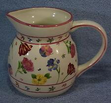 "Harry David Pitcher-Pandy Iris Peony Tulip Bluebells Floral-Pink Trim-6 5/8"" Tal"
