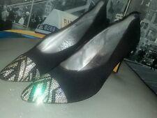 Vintage 60s Amano Swarovski Crystal Captoe Black Fabric Pump Heel Shoe 8.5 N