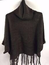 Black Swan Artsy Fringed Women's Brown Soft Sweater Loose Turtleneck L CW-018