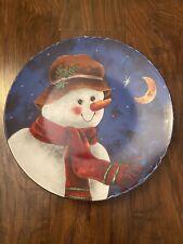 "Vintage ELAINE THOMPSON 1999 Ceramic SNOWMAN 10"" Plate Cookie Platter Tray Blue"