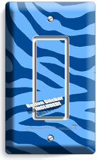 BLUE ZEBRA ANIMAL PRINTS STRIPES LIGHT 1 GANG GFCI SWITCH WALL PLATES ROOM DECOR
