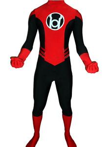 Red Lantern Spandex Black and Red Zentai Suit Superhero Cosplay Costume