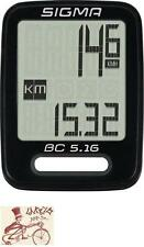 SIGMA BC 5.16 WIRED BLACK BICYCLE SPEEDOMETER COMPUTER