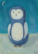 Blue Owl ACEO Painting, Cute Bird , Original Whimsical Modern Folk Art SFStudio