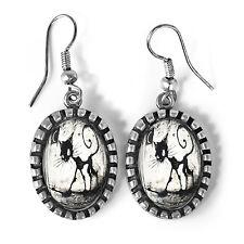 Cute Gothic Black Kitty Cat Antique Silver Halloween Horror Art Glass Earrings