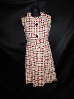 Vintage 50s XS S Cream Pink Brown Print Shirt Dress Sleeveless Knee Button Day