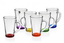 6 Latte Macchiato Gläser 300ml mit buntem Boden Teegläser Saftglas Kaffeegläser