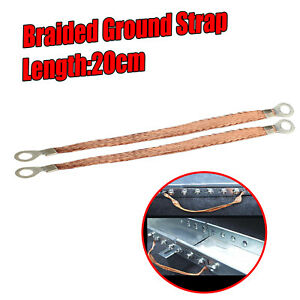 2x 20cm Braided Earth Ground Engine Strap Cable Protector with 4-8mm Copper Ring