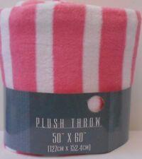 """Pink & White Stripe Fleece Throw Blanket 50 x 60"""" Soft Lightweight"""