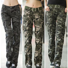 Women Camouflage Cargo Trousers Pants Straight Leg Army Casual Pocket Outdoor
