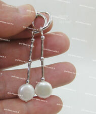 Charming AAA 10-11mm real natural south sea white pearl earrings 14k white gold