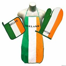 Ireland Flag Kitchen & BBQ Set *NEW* w/ Apron Oven Mitt & Pot Holder Irish Erin