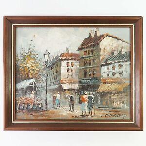Vintage Framed Oil Painting, C Burnett Paris Street Scene Streetscape
