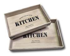 Serviertablett Tablett Küchentablett Freizeittablett Holz Retro Vintage Look NEU