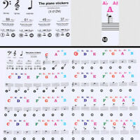 .Transparent Removable Digital Piano & Keyboard Stickers For 37/49/88/61/54 New.