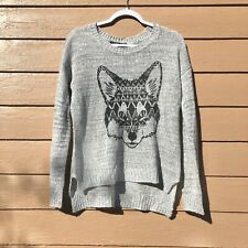 Almost Famous Aztec Fox Grey Sweater Womans Size Xl Nwt