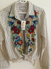 💕$220 JOHNNY WAS Nandi Tie Front Floral Embroidery Size M NWT