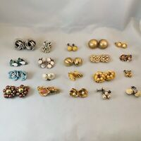 Vtg Earrings Lot 20 Pairs Cluster Gold Silver Clip On Posts Retro 17X