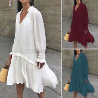 Mode Femme Plage Bohémienne Bouffant Robe Manche Longue Col V Couture Dress Plus