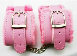 Soft Furry Bondage Handcuffs Ankle Cuffs Faux Leather Pink Lover Roleplay Slave