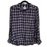 64 Ann Taylor LOFT Women's Sz Med Softened Plaid Shirt Top Tunic Navy Blue Red