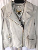NWT Iman M Gray Genuine Leather Coat Lined Medium
