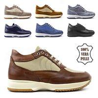 Scarpe da Uomo Sneakers in Pelle Sportive Eleganti Casual Nere Blu Marrone 43 44