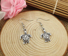 Fun Cute New Tibetan Silver Turtle Terrapin Charm Dangle Drop Earrings