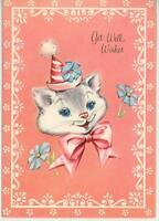 VINTAGE WHITE GRAY CAT CLOWN BLUE FLAX FLOWERS PARTY HAT GREETING CARD ART PRINT