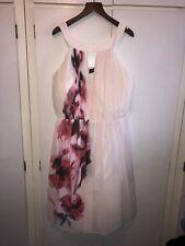 Little Mistress Beautiful Pink Floral Skater Flare Dress Size 26 Rare