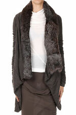 NEW NWT *RICK OWENS* LILIES ITALY FUR STRETCH CARDIGAN SWEATER JACKET 8 $1970!!