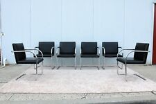 Gordon Brno Tubular Chairs set of 6 in Black Leather Authentic Mies van der Rohe