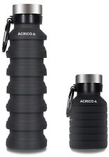 Collapsible Water Bottle With Carabiner Travel & Biking 550ML BPA Free Silicone