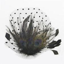 Lady Peacock Feather Veil Headpiece Brides' Wedding Hair Clip Fascinator Pillbox
