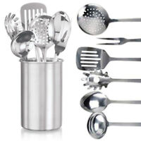 7 PIECE STAINLESS STEEL KITCHEN COOKING TOOL UTENSIL SET SPOON FORK LADLE TURNER