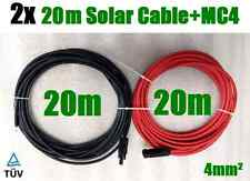2 x 20m Solar Cable MC4 Connector PV Panel to regulator 4mm² Extension Wire