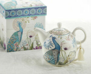 Delton Porcelain Tea for One Gift Set  Stacked Teapot & Cup PEACOCK