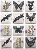 BLACK or GOLD LACE APPLIQUES & COLLARS *31 DESIGNS* SEWING HABERSDASHERY SEW ON
