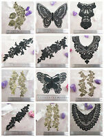 BLACK or GOLD LACE APPLIQUES & COLLARS *59 DESIGNS* SEWING HABERSDASHERY SEW ON