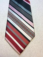 Vintage Oleg Cassini Mens Tie 4 X 55 Pink, Red, Gray, Black, White Striped