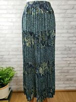 Coldwater Creek Small broomstick skirt crinkle maxi blue boho fabric tiered