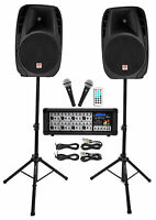"Rockville 15"" Church Speakers+Mixer+Stands+Mics+Bluetooth 4 Church Sound Systems"