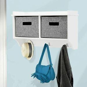 2 Cube Hanging Shelf With Storage 3 Hooks Wall Mounted Display Racks Bathroom UK