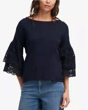 2c734464 DKNY Cotton Eyelet Ruffle-Sleeve Top 79$ Size L