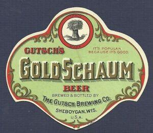 GoldSchaum beer label, prepro, Gutsch, Sheboygan, WI, non- IRTP,