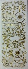 Gold White Glitter Merry Christmas Xmas Bauble Wreath Stickers Scrapbook 180009G