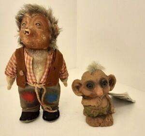 Original NyForm Steiff Mecki Vintage Troll Hedgehog Figurine Set of 2 Tag New