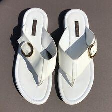 Louis Vuitton Size 38 8 US White Vernis Thong Sandals Flip Flops Gold Buckle EUC