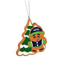 Seattle Seahawks Gingerbread Man w/ Tree Christmas Tree Ornament New MT14